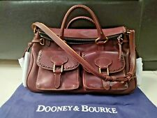 Dooney Bourke Florentine Satchel Double Pocket Chesnut Brown Rare Collection