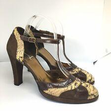 Via Venise Brown Beige Suede Snakeskin Croc Patchwork Mary Janes TBar Heels 6 39