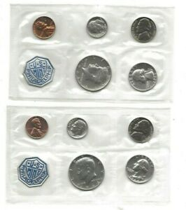 A pair of 1964 5-piece proof sets (10 total coins) No Envelope