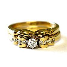 14k yellow gold .28ct round diamond engagement ring wedding band 6.2g vintage