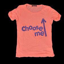 Patrizia Pepe Firenze Italy Choose me Stretch T SHIRT Peach Purple Logo One size