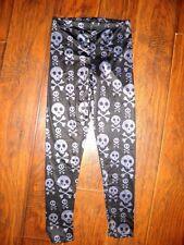 Ladies Leggings Skull & Cross Bones Small Freeze Brand Black Gray Spandex Pants