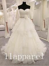 2016 Ruffled Organza A Line Wedding Dresses Sweetheart Beading Sash Bridal gown