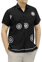 LA LEELA Men's Tropical Camp Hawaiian Shirt Button Down Shirt Dress L Black_W765