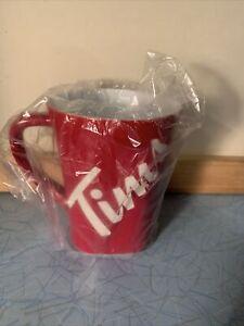 Tim Hortons Red Ceramic Mug Letters Etched 16 Oz New