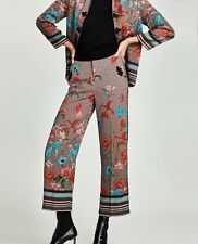 BNWT Zara High Waisted Silky Floral Cullotte Trousers, Size S