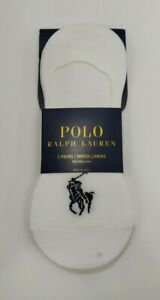Polo Ralph Lauren Mens No Show Liner Sock Size 6-12 White 3 Pack Sock Fits Shoe