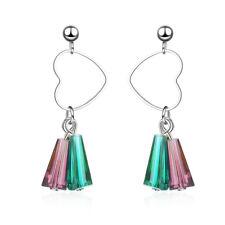 Ladies Lovely 925 Sterling Silver Multi-Color Crystal Heart Tassel Stud Earrings