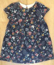 Zara girl 2-3 year Toddler short-sleeved dress navy blue floral smart textured