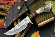 Custom Damascus Steel Hunting Knife Handmade With Stag Horn Handle (Z207)