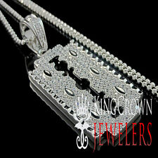 Genuine Silver 14K White Gold Finish Razor Blade Lab Diamond Pendant Chain Set