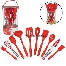 New Gourmet 10 pc Kitchen Utensil Set with Free Storage Stand BPA-Free Silicone