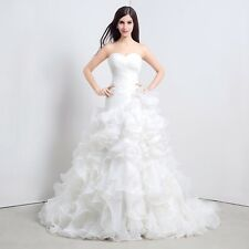 White Ivory Organza Sweetheart Wedding Dress Pleating Ruffles Skirt Bridal Gown