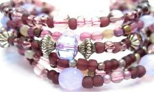 B6 Multi Layer plum,pinks,silver Bead Bracelet heart clasp