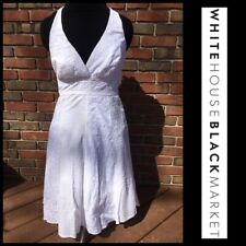 WHBM EUC White Halter Top Backless Embroidered Eyelet Lace Gauzy Lined Dress