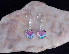 Purple Dragon Scale Heart Cabochon 925 Sterling Silver Hook Earrings.Handmade