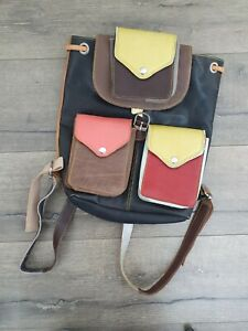Gringo Fairtrade Multi Coloured Recycled Leather Rucksack - Faulty