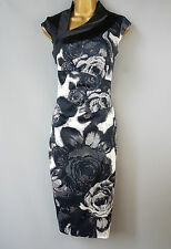 Karen Millen dress wiggle Rose floral print Monochrome Bodycon UK 6