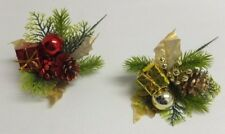 12 Pack Christmas Picks Holiday Red Gold Pine Cone Gift Ball Greens