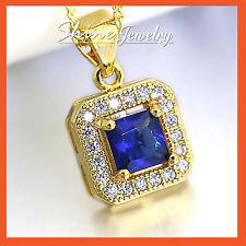 18K GOLD GF SQUARE BLUE SAPPHIRE LAB DIAMONDS SOLID WOMENS NECKLACE PENDANT GIFT