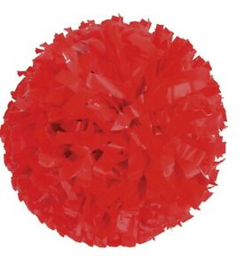 Red Plastic Poms, 6 x 3/4, Baton handle. New, never used. 18 pieces (9 sets)