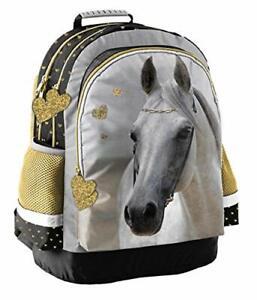 Sac à dos pour enfant - Motif chevaux - Pour garçons et filles - Avec grands com