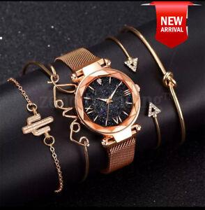 Luxury Women Watches Magnetic Starry Sky Female Quartz Wrist watch 5pcs Set