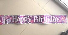 new sealed  3.65M  happy birthday foil banner   kids girl funky pink birthday