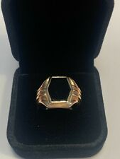 Vintage Hexagon Onyx 10K Gold Men's Ring Size 8.25