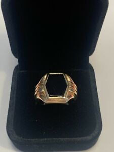Vintage Hexagon Onyx 10K Gold Men's Ring Size 8.25
