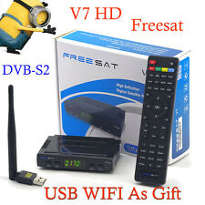 Original Freesat V7 HD Satellite Tv Reciever USB Wifi DVB-S2 Support Cccam power