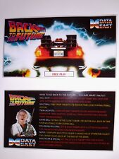 * * 'BACK TO THE FUTURE' Data East 1990 Custom Instruction/Apron Cards * * (New)
