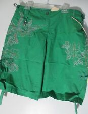NEW Da-Nang Silk Bermuda Shorts green Bleached embroidered design Size S NWT