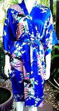 Eleganter Damen-Kimono Satin Morgenmantel/Bademantel/Hausmantel Pfauen-Muster