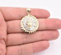 "1 1/2"" Roaring Lion Diamond Cut Medallion Pendant Real 10K Yellow White Gold"