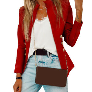 Womens Solid Slim Simple Casual Long-Sleeved Office Lapel Cardigan Blazer Autumn