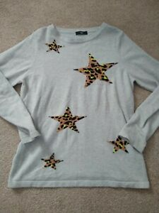 Size 12 petite jumper/sweater grey with leopard print stars M&Co