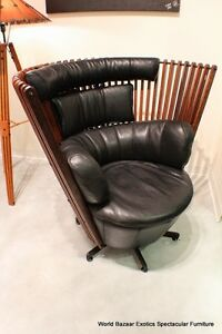 "43"" W Arm chair swivel waxed exotic hard wood soft black Italian grain leather"