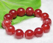"Natural 16mm Red Ruby Gems Ball Round Beads Bracelet 7.5"" Elasticity  J131"