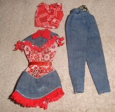 BARBIE DOLL CLOTHES - 2 RED PRINT & DENIM WESTERN COWBOY OUTFITS