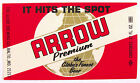 Globe Brewing Co ARROW PREMIUM  bright red  beer label MD 12oz
