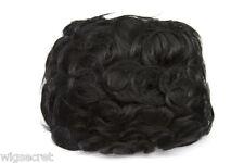 Black Brunette Medium Human Hair Monofilament Hand Tied Wavy Curly 8.5X6. Toupee