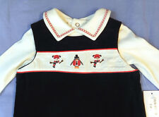 Boys Christmas Outfit Shortall Stitched Snowman Penguins Black 0-3 Months New
