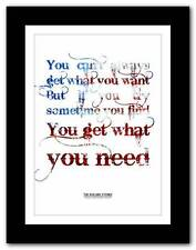 THE ROLLING STONES You Can't Always Get ❤ song lyrics typography poster print