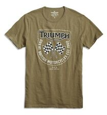 Lucky Brand - Mens XL - NWT  Green Triumph Flags Motorcycle 100% Cotton T-Shirt
