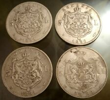 ROMANIA SILVER 5 LEI CAROL I LOT 4 COINS gr. 100 Silver SEE PHOTO
