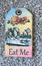 4 Mini Alice in wonderland tags vintage Eat Me Birthday tea party Decorations