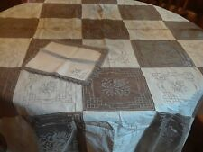 "Vintage 52"" by 72""Ivory Ecru Cut Work Embroidery Linen Tablecloth Lace 4 napkins"