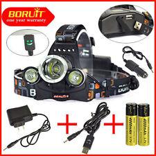 BORUiT 35000Lm 3x XM-L L2 LED Headlamp Headlight USB lamp 2x 18650 + 3x Charger