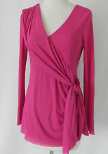 Maternite Top Long Sleeve Mesh Pink V-Neck Size M